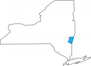 Map of New York State and Columbia County